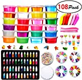 DIY Fluffy Slime Kit – 24 Colors Slime Kits for Girls Boys Toys with 48 Glitter Powder,Clear Slime Supplies for Kids Art Craft,Includes Air Dry Clay, Fruit Slices and Tools,Squeeze Stress Relief Toy