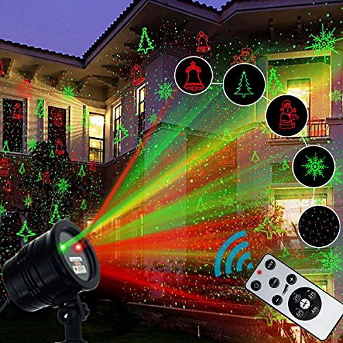 Christmas Laser Lights, Vansky 2017 Upgraded Amazing Christmas Projector Lights Red and Green Star Shower Laser Lights for Christmas,Holiday Party, Landscape and Garden Decorations