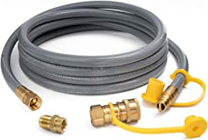 "GASPRO 12 Feet 1/2 ID Natural Gas Hose,Quick Connect Disconnect with 3/8"" Female by 1/2"" Male for Outdoor NG/Propane Appliance"