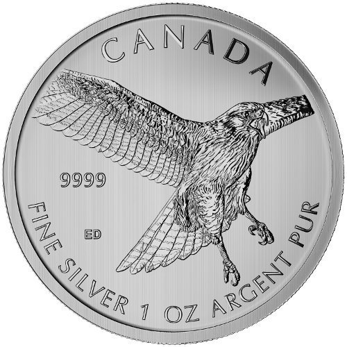 Ret Mint (2015 1 Oz Canadian Silver Red-tailed Hawk)