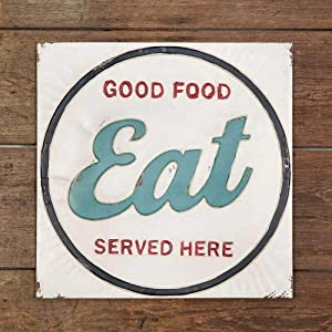 Rustic Farm Style Eat Good Food Served Here Metal Wall Sign 12