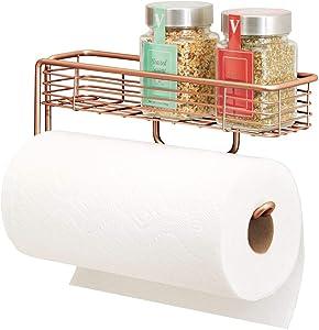 mDesign Wall Mount Metal Paper Towel Holder with Storage Shelf for Kitchen, Pantry, Laundry, Garage Organization - Shelf Holds Spice Bottles, Glass Jars, Oils and Vinegars - Copper