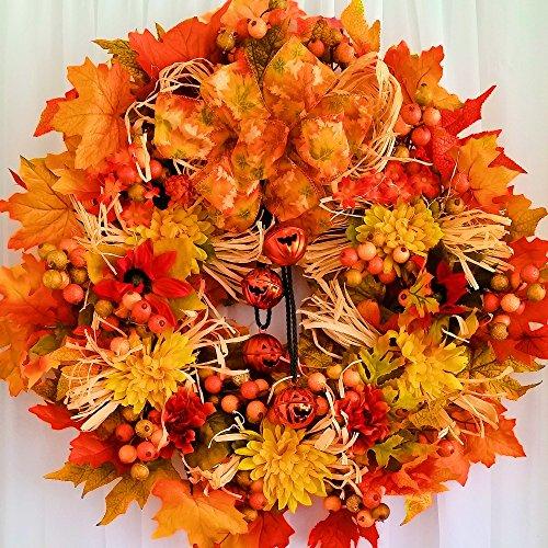 Fall Jack-O-Lantern Jingle Bell Wreath - Fall - Autumn - Harvest - 23 inch Wreath - Jack O-lantern Wreath