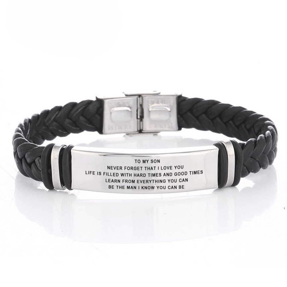 LF 316L Stainless Steel Free Engraving Name Date Personalized Customized TO My Son Bracelet Braided Leather Inspiration Cuff Bracelets for Son for Birthday Christmas Gift from Dad Mom Personalized