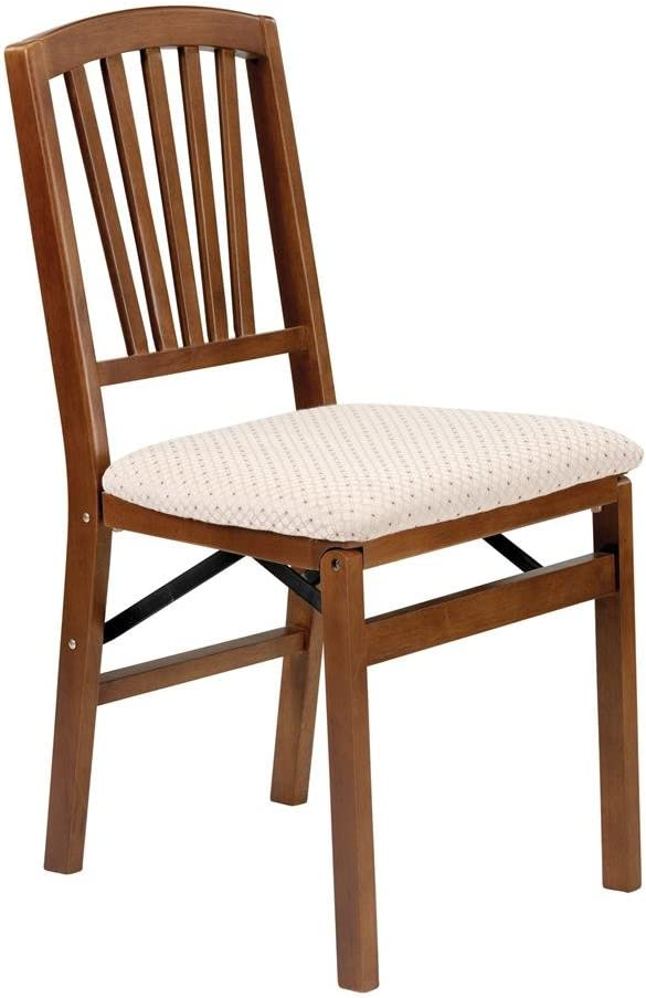 Slat Back Folding Chair in Warm Fruitwood Finish – Set of 2