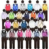 5pc Baby Toddler Kid Boy Wedding Suit BROWN Pants Shirt Vest Bow tie Hat Set 5-7 (Size: 5, Dark Gray)