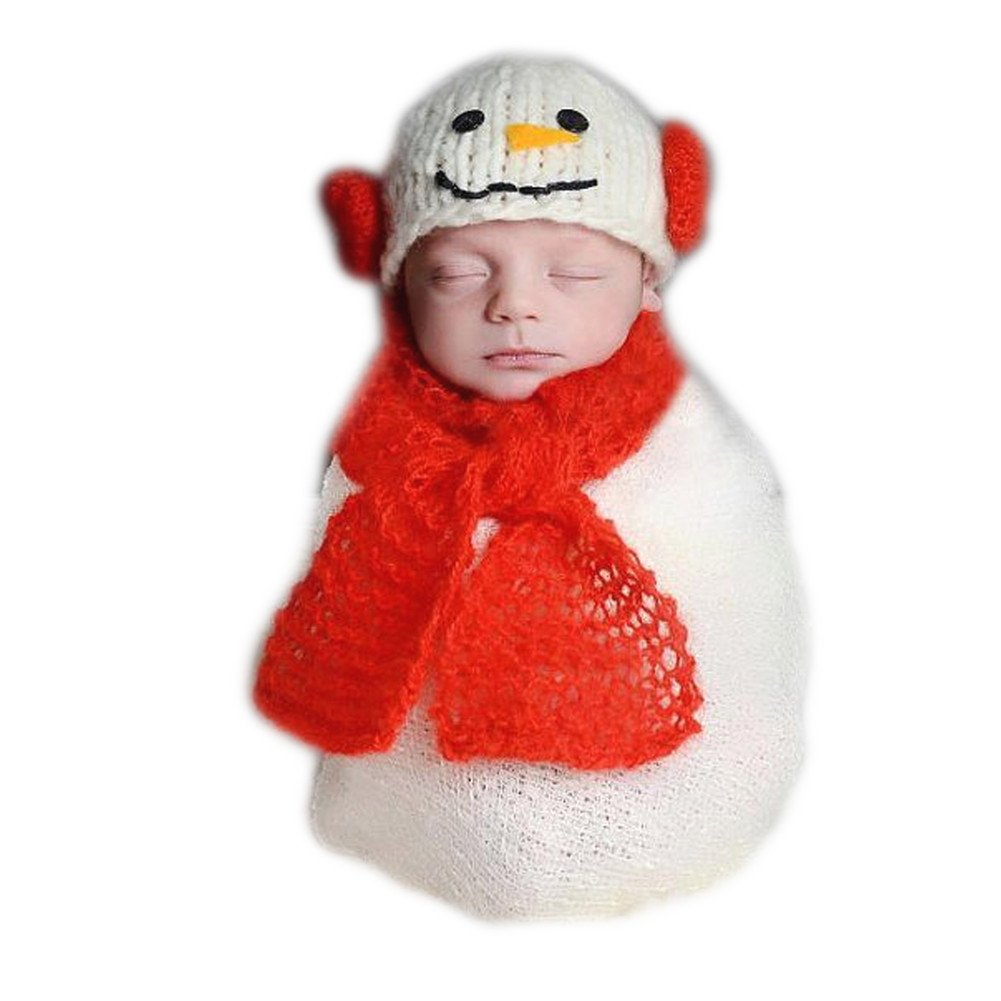 Fashion Unisex Newborn Girl Boy Baby Outfits Photography Props Snowman Hat Scarf JM-851