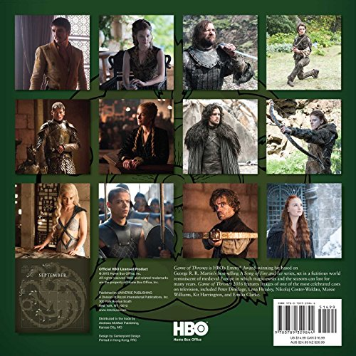 Game Of Thrones 2016 Wall Calendar Import It All