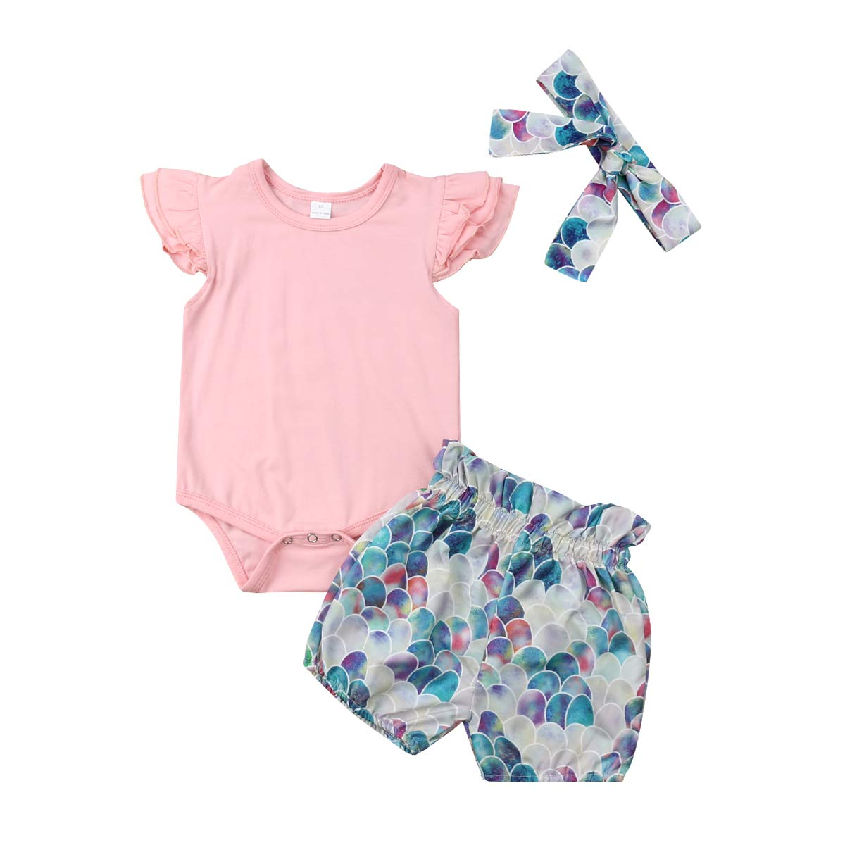 Mermaid Short Pants Clothes Set Short Set Toddler 3PCS Baby Girl Mermaid Outfits Organic Cotton Romper Bodysuits Jumpsuit