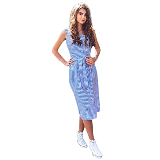 6c2840b16251e Leewos 2018 New! Casual Long Dress,Women's Summer Blue Striped Sundress  Fashion Bandage Dress