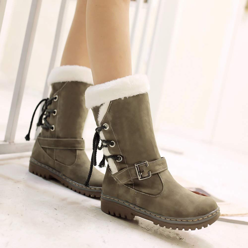 Zapatos Invierno Mujer Botas de Nieve Antideslizante Seguridad Calzado Ca/ño Calentar Planas Casual Outdoor Aire Libre y Deportes Sneakers