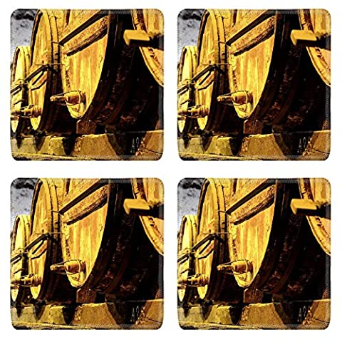 Liili Natural Rubber Square Coasters IMAGE ID 32520953 Details of very old wine barrels - Rioja Wine Cellar