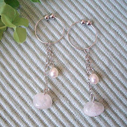 Moonstone & Freshwater Cultured Pearl . Non-hall Pierced Earrings Gemstones . Silver Plating Earrings