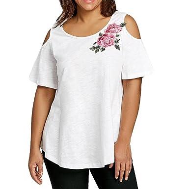 hermoso estilo Descubrir mayor selección de FAMILIZO Camisetas Mujer Verano Blusa Mujer Elegante Camisetas Mujer Manga  Corta Algodón Camiseta Mujer Camisetas Mujer Fiesta Camisetas Sin Hombros  ...