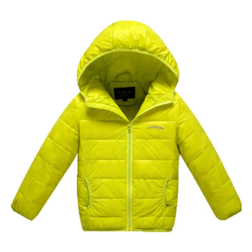 Vert Fluorescent 130CM OHmais Unisexe enfant garçon fille veste d'hiver hommeteau à capuche