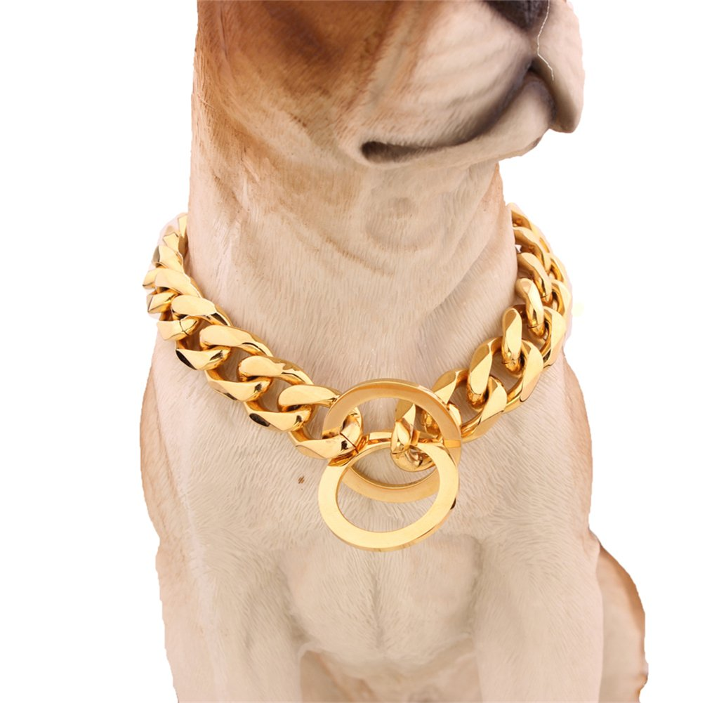 Strong Stainless Steel Curb Cuban Chain Metal Choke Collar Dog Training Collars Necklace Pet Neck Rope 16 inches (15mm Wide)