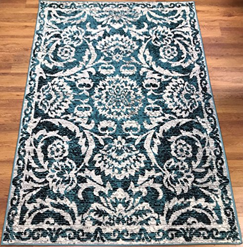 Antep Rugs Kashan King Collection 506 Floral Polypropylene Indoor Area Rug Blue and Cream 5' X 7' (Area Floral Rugs)