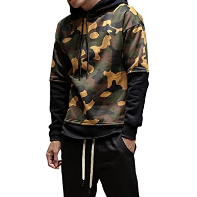 Homme Militaire À Hoodie Pullover Camouflage Manches Capuche Sweats rrqwxp7
