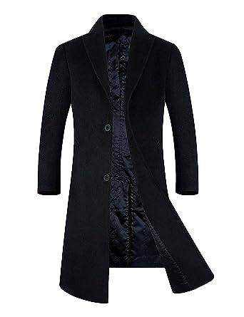 58334a4f2174 APTRO Men's Wool Blend Trench Coat Full Length Overcoat Fleece Lining Top  Coat (Black-