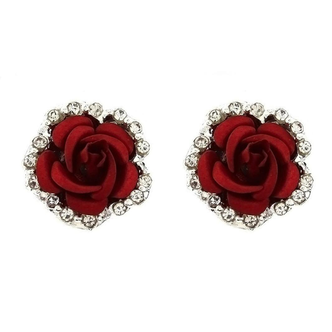Hypoallergenic Earrings Women Girls Rose Flower Shaped Ear Stud Earrings Lovely Rhinestone Jewellery (Red)