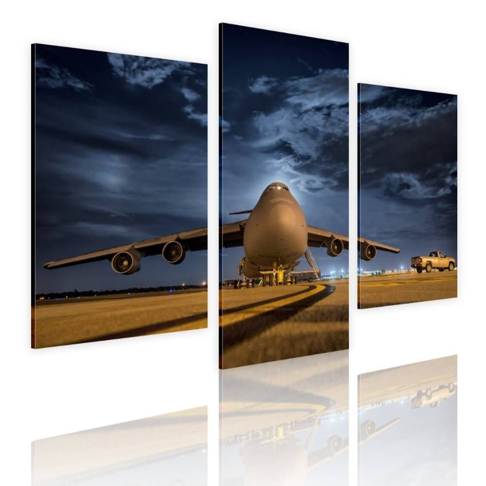 Alonline Art - Airplane Taking Off by Split 3 Panels | framed stretched canvas on a ready to hang frame - 100% cotton - gallery wrapped | 33''x22'' - 84x56cm | Wall art home decor for nursery picture