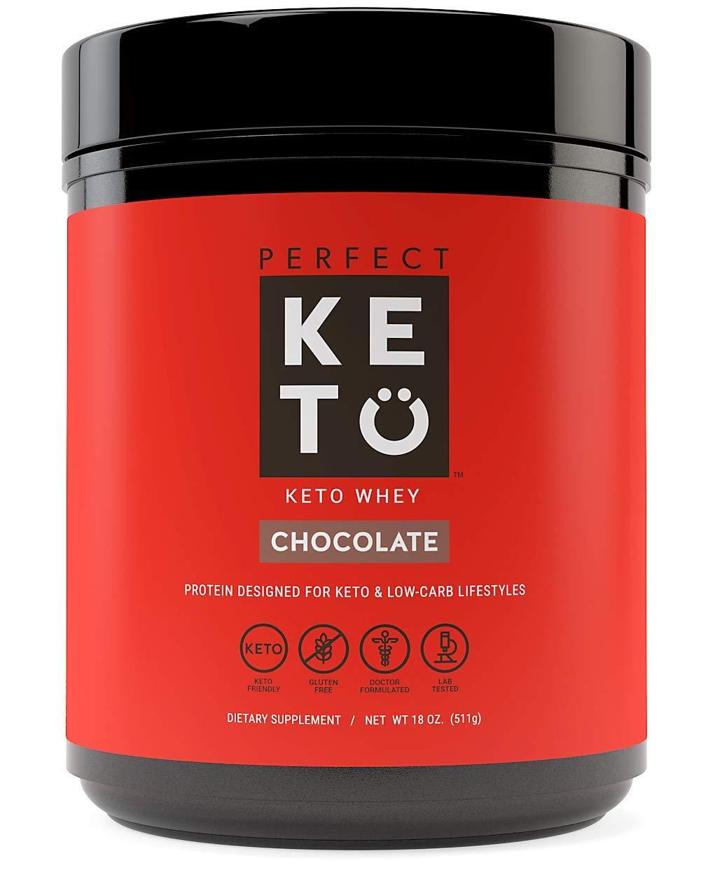 Perfect Keto Pure Whey Protein Powder Isolate | Delicious 100% Grass Fed Whey | No Artificials, Gluten Free, Soy Free, Non-GMO (Chocolate) by Perfect Keto