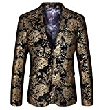 MAGE MALE Mens Dress Party Floral Suit Jacket Notched Lapel Slim Fit Two Button Stylish Blazer