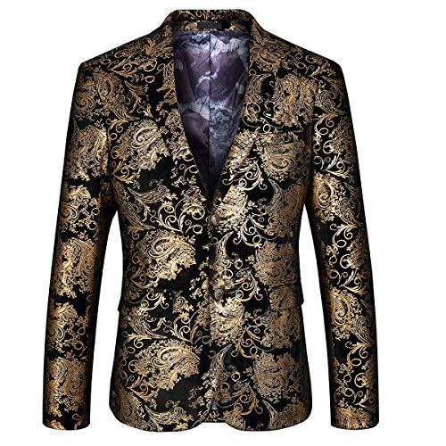MAGE MALE Men's Dress Party Floral Suit Jacket Notched Lapel Slim Fit Two Button Stylish Blazer, Golden, Medium