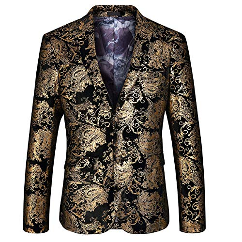 (MAGE MALE Men's Dress Party Floral Suit Jacket Notched Lapel Slim Fit Two Button Stylish Blazer (Golden, 2XL))