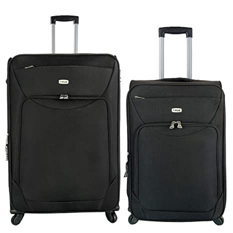 Timus Upbeat Spinner Black 65  amp; 75 cm 4 Wheel Strolley Suitcase Set of 2 Expandable Check in Luggage   28 inch  Black
