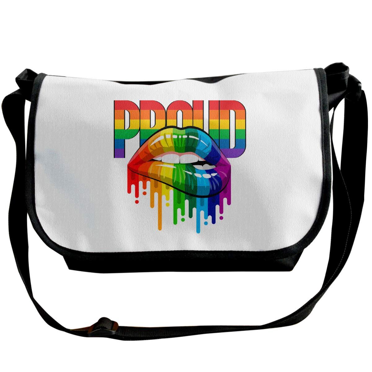 Futong Huaxia Gay Rainbow Lips Pride Travel Messenger Bags Handbag Shoulder Bag Crossbody Bag Unisex