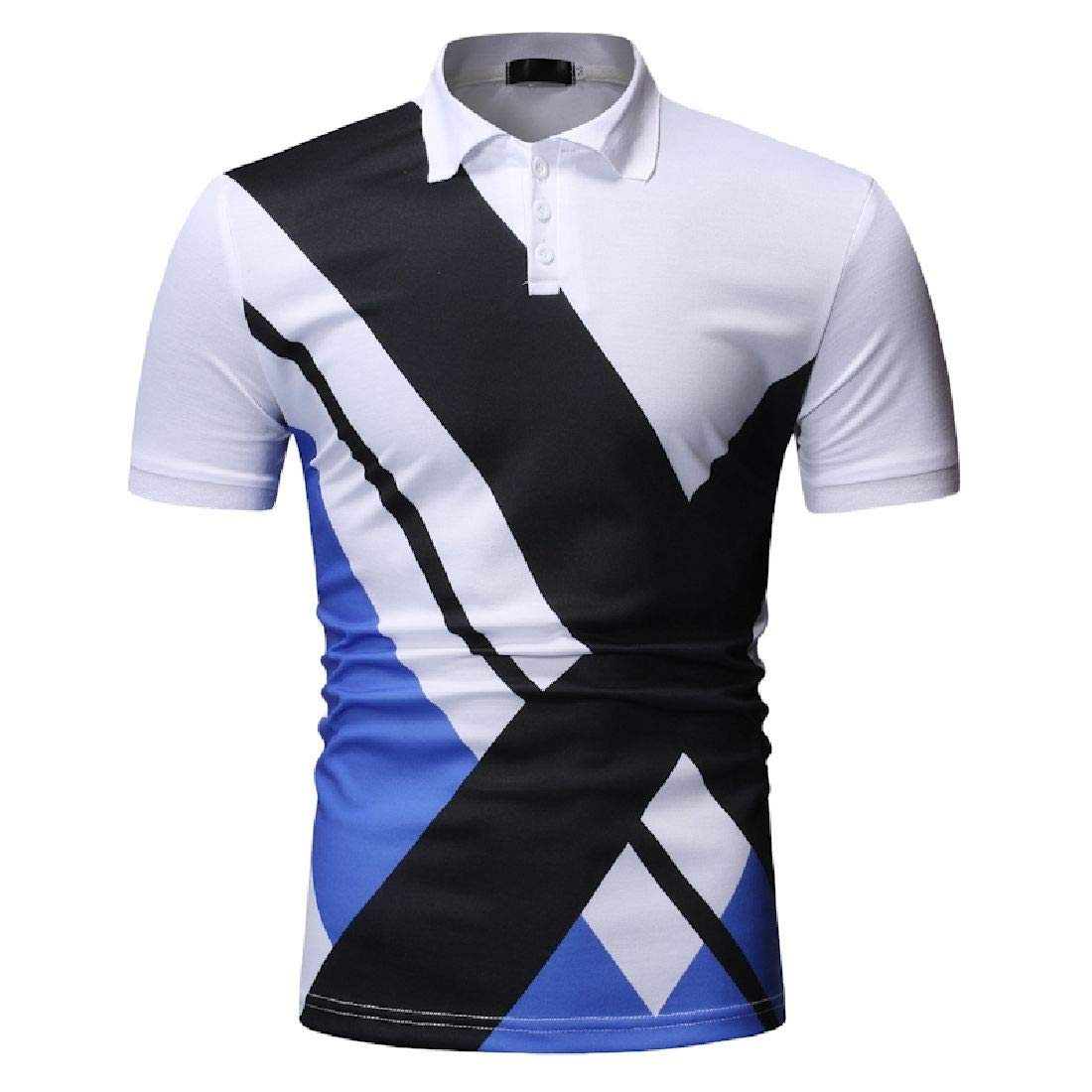 Domple Mens Contrast Summer Leisure Business Short Sleeve Fashion Polo Shirt