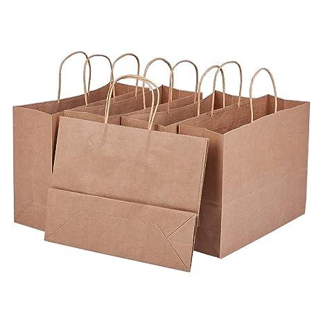 BENECREAT 15 Pack Bolsas de Regalo de Papel Kraft con Asas Compras, Mercancía, Venta al por Menor, Fiesta, Boda, Papel 100% Reciclado Marrón Natural