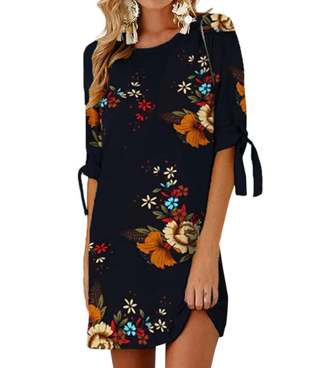 7a3df4395d74da delicate Ajpguot Sommerkleid Damen T-Shirt Kleid Rundhals Kurzarm Minikleid  Blumen Strandkleider Langes Shirt Lose