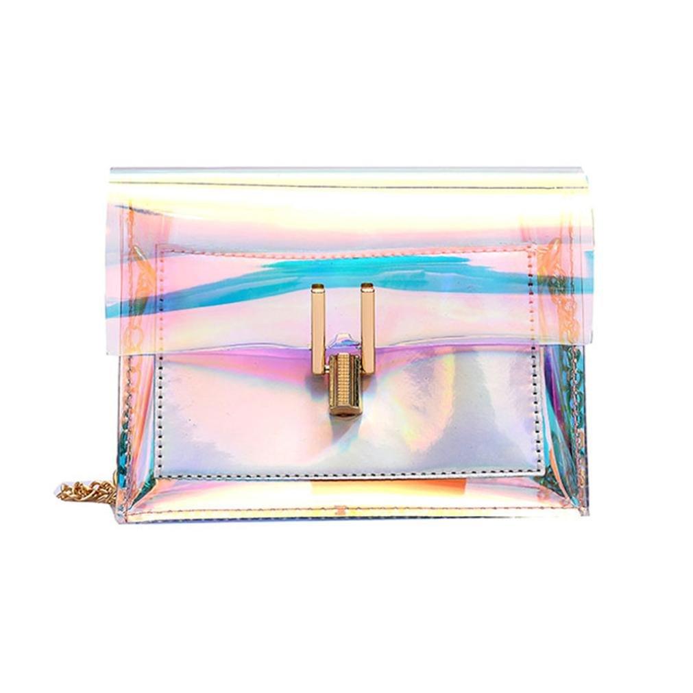Clearance! Women Bags JJLOVER Laser Transparent Crossbody Bags Messenger Shoulder Bag Beach Bag One_Size)