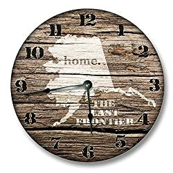 Fancy This Alaska State Wall Clock Old Weathered Boards Rustic Cabin Country Decor