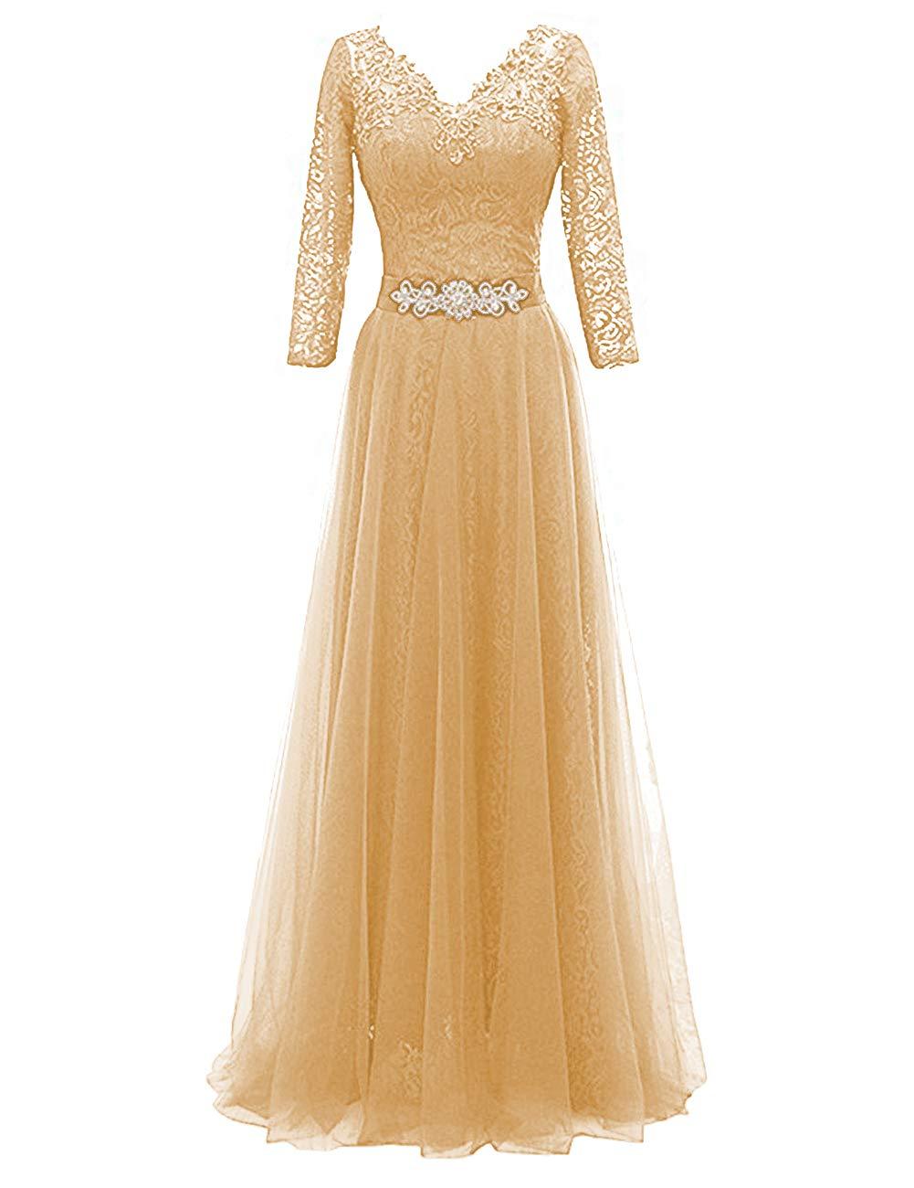Mother of The Bride Dress V Neck Mother Dresses Long Formal Gowns Gold 28W