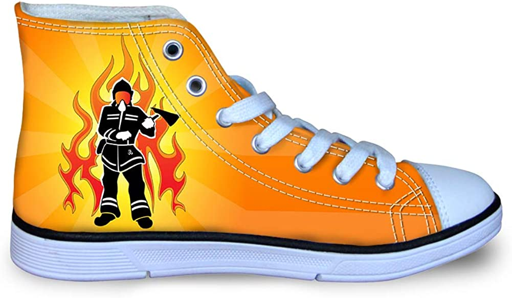 Canvas High Top Sneaker Casual Skate Shoe Boys Girls City Hero Firefighter Firemen Ray of Flame