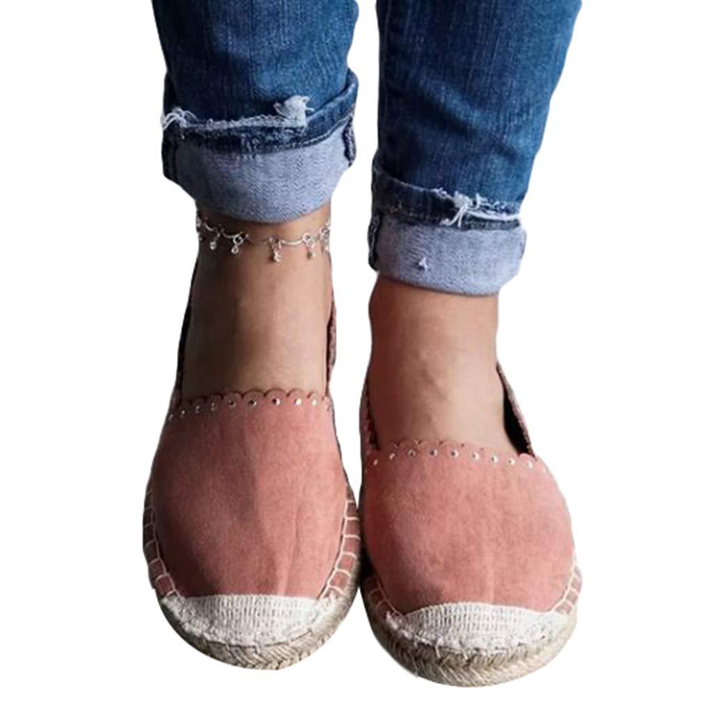 Junkai Espadrilles Junkai Sneakers Espadrilles pour Les Femmes Classique Comfortable Tissu Casual Walking Flats Slip-on Comfortable Shoes Rose f732441 - shopssong.space