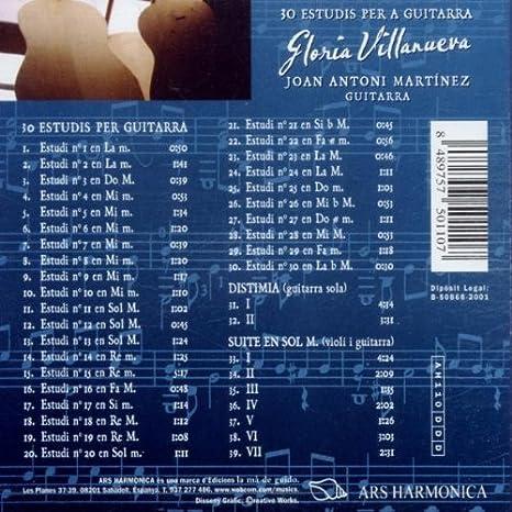 30 Estudis Per A Guitarra -J.A.Martinez-: Gloria Villanueva ...