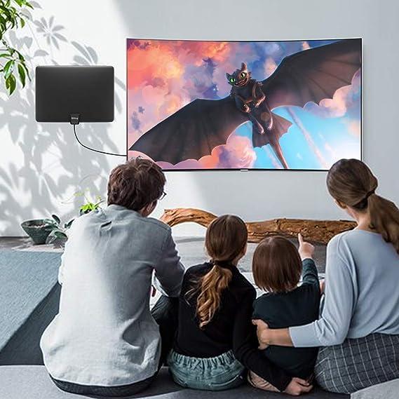 Antena de TV para interior digital de 90 a 130 millas, antena digital HD amplificada para interior, antena HDTV digital de largo alcance con amplificador de señal – cable coaxial de 13.2