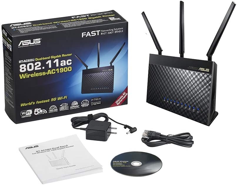 ASUS RT-AC68U AC1900 AiMesh Dual-Band Gigabit Wireless Router Mesh Access Point Mode USB and USB for Media Server Dongle Support 802 11AC