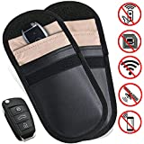 2 X Car Key Signal Blocker Case, Keyless Entry Fob Guard Signal Blocking Pouch Bag, Antitheft Lock Devices, Healthy Cell Phone Privacy Protection Security WIFI / GSM / LTE / NFC / RF Blocke
