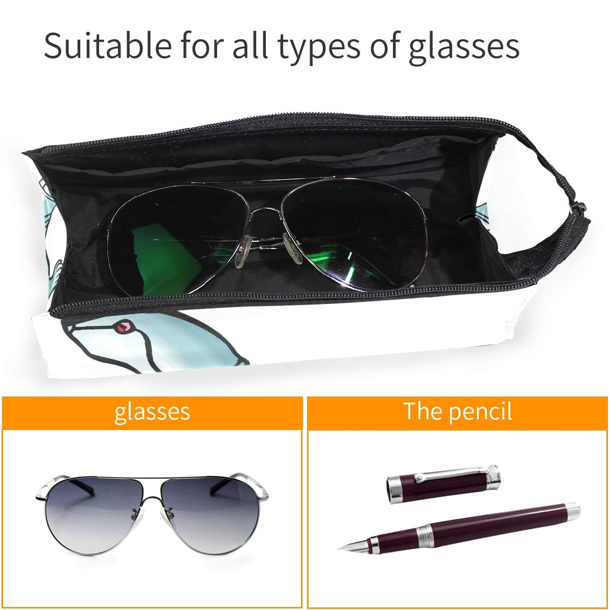 Glasses Case Red Rose Forever Portable Soft Sunglasses Ball Pen Bag Protective Pouch