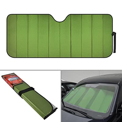 Motor Trend Front Windshield Sun Shade - Accordion Folding Auto Sunshade for Car Truck SUV - Blocks UV Rays Sun Visor Protector - Keeps Your Vehicle Cool - 58 x 24 Inch (Green): Automotive