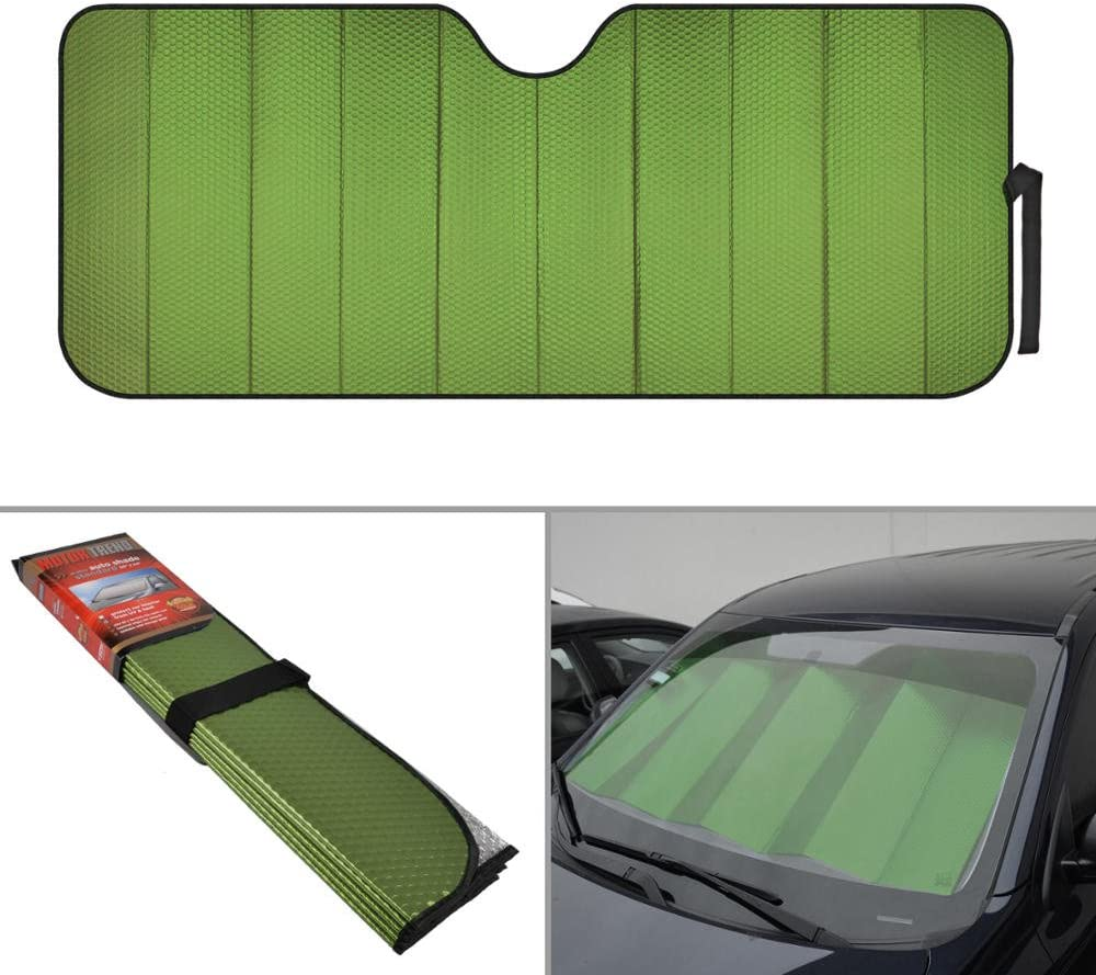 Motor Trend AS-311-GN Front Windshield Shade-Accordion Folding Auto Sunshade for Car Truck SUV-Blocks UV Rays Sun Visor Protector-Keeps Your Vehicle Cool-58 x 24 Inch (Green)