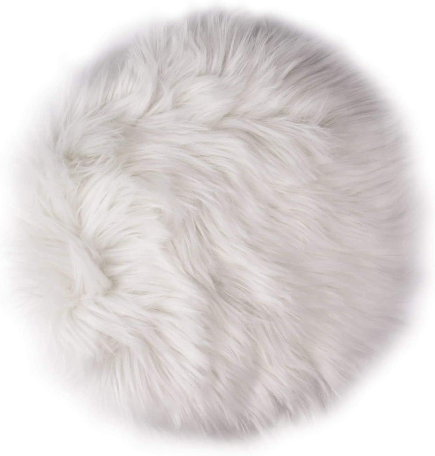 12 Inches Mini Round Faux Fur Sheepskin Rugs, Fluffy Living Room Carpet Mini Small Size Fit for Photographing Background of Jewellery(White)