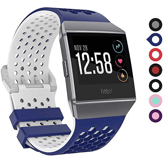 EasyJoy Fitbit Ionic Bands for Women Men Small Large, Silicone Material Soft Waterproof Breathable Replacement Accessories Sport Strap Set for Fitbit ...