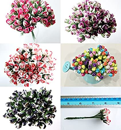 Amazon icrafy assorted 100 tiny rose bud mulberry paper flower icrafy assorted 100 tiny rose bud mulberry paper flower artificial craft scrapbook wedding supply accessory diy mightylinksfo