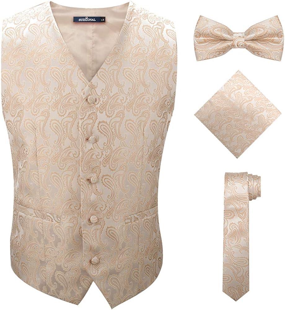 SuiSional Mens 4pc Classic Paisley Suit Vest Set Necktie Bowtie Hanky for Tuxedo